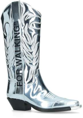 "Off-White Off White Metallic ""For Walking"" Cowboy Boots"