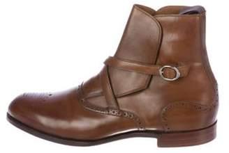 Barker Black Leather Monk Strap Ankle Boots brown Leather Monk Strap Ankle Boots