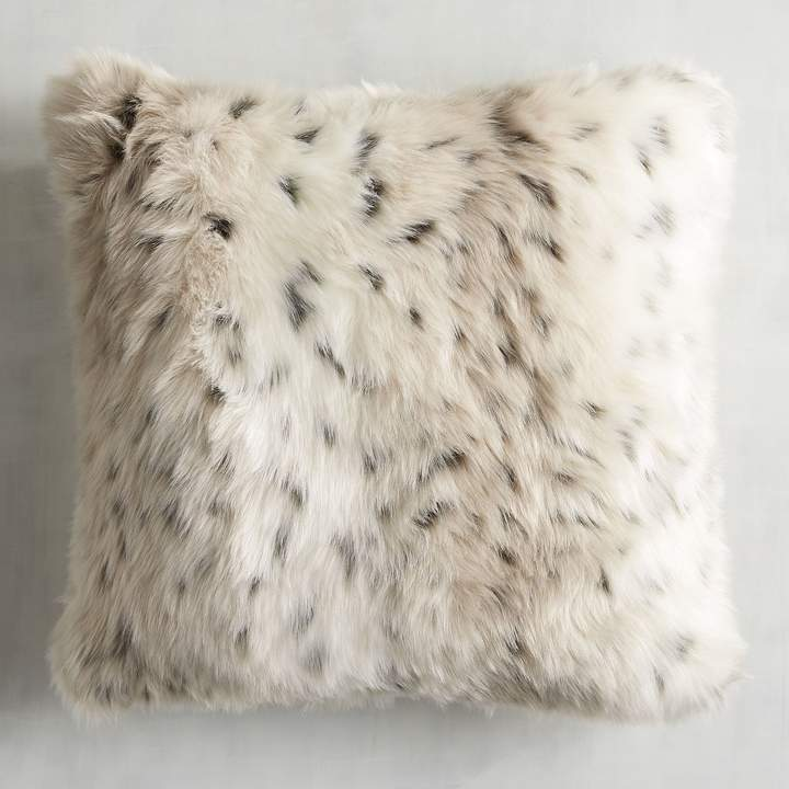 Luxe Faux Fur Taupe Leopard Pillow