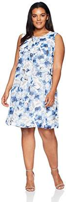 Calvin Klein Women's Plus Size S/L PRTD CHIF Dress
