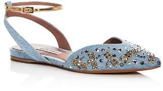 Tabitha Simmons Women's Vera Fly Spark Embellished Denim Ankle Strap Flats