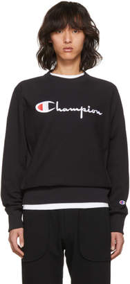 Champion Reverse Weave Black Logo Sweatshirt