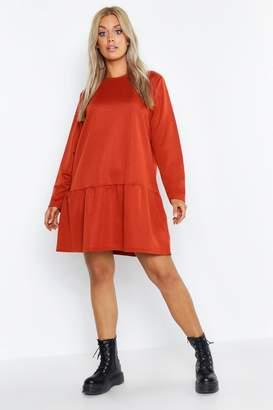 boohoo Plus Drop Hem Crew Neck Sweat Dress