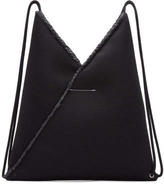 MM6 Maison Martin Margiela Black Mesh Drawstring Backpack
