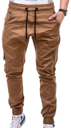 9bef66f7358 at Amazon Canada · Gnaixeh Men s Pants Plus Size Pocket Tether Belt Casual  Cargo Stretch Trousers