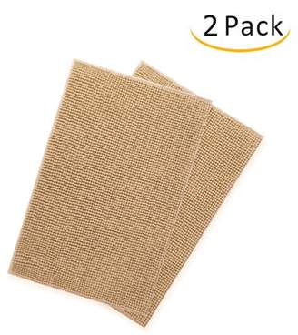"""Unbranded Microfiber Non-Slip Bath Mat, Chenille Bathroom Rug - 2 Pack - Extra Soft and Absorbent Machine Washable, Perfect for Bath, Tub, and Shower (Light Brown, 20"""" x 32"""" )"""