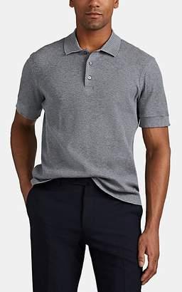 Brioni Men's Waffle-Knit Cotton Polo Shirt - Light Gray
