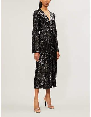 Galvan Moonlight V-neck sequin midi dress