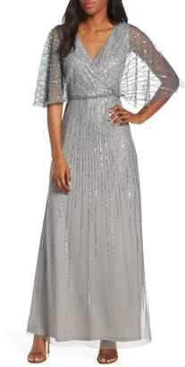 Adrianna Papell Sequin Stripe Mesh Evening Dress