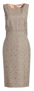 Altuzarra Shadow Floral Check Sheath Dress