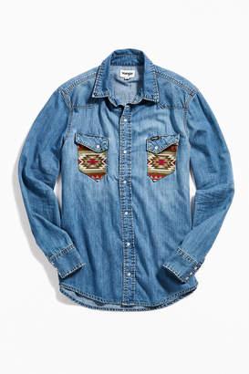 Wrangler Angled Pocket Denim Button-Down Shirt