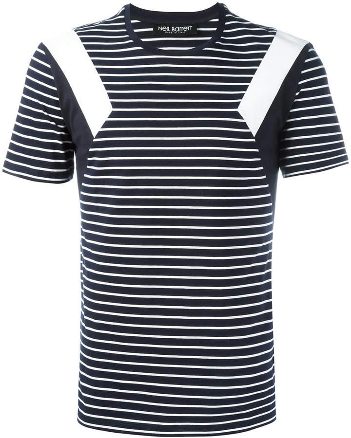 Neil Barrett geometric detail striped T-shirt