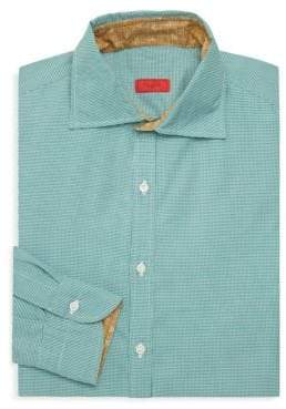 Isaia Micro-Checked Dress Shirt
