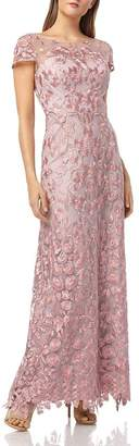 JS Collections Embroidered Illusion Yoke Gown