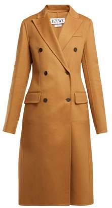 Loewe Double Breasted Wool And Cashmere Blend Coat - Womens - Light Brown