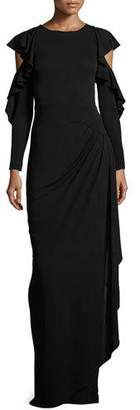 Rickie Freeman for Teri Jon Cold-Shoulder Draped Jersey Column Gown, Black $660 thestylecure.com