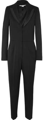 Stella McCartney Poplin-trimmed Wool-twill Jumpsuit - Black