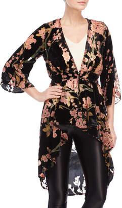 Angie Floral Detail Velvet Kimono