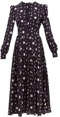 Alessandra Rich Daisy Print Silk Crepe De Chine Midi Dress - Womens - Navy Multi