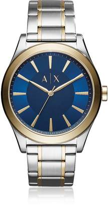 Armani Exchange Nico Blue Dial with Two Tone Stainless Steel