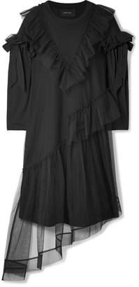 Simone Rocha Ruffled Tulle-trimmed Cotton-jersey Dress - Black