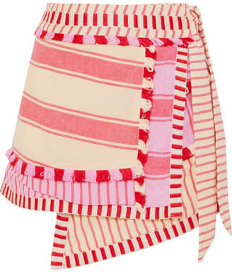Dodo Bar Or - Tasseled Striped Cotton-gauze Wrap Mini Skirt - Pink
