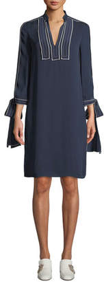 Tory Burch Silk Tunic Georgette Dress with 3/4 Tie-Sleeves
