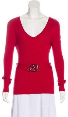 Adrienne Vittadini Plunging Neck Long Sleeve Top Red Plunging Neck Long Sleeve Top