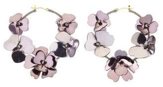 Oscar de la Renta Gun Metal Flower Garden Hoop Earrings