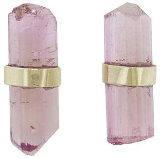 Melissa Joy Manning Pink Tourmaline Stick Stud Earrings - Yellow Gold