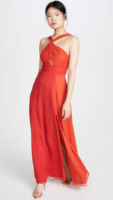 Jill Stuart Asymmetrical Colorblock Gown