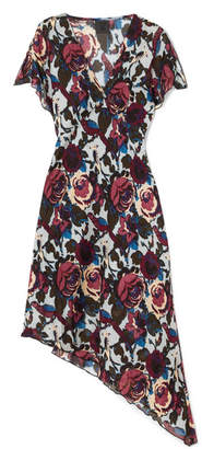 Anna Sui Birds And Roses Printed Silk-chiffon Dress - Blue