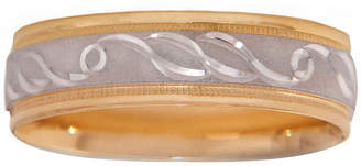 MODERN BRIDE Mens 10K Two-Tone Gold 6mm Engraved Wedding Band