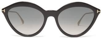 Tom Ford Cat Eye Acetate Sunglasses - Womens - Black Grey