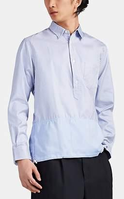 Comme des Garcons Homme Men's Contrast-Hem Striped Cotton Oxford Shirt - Blue