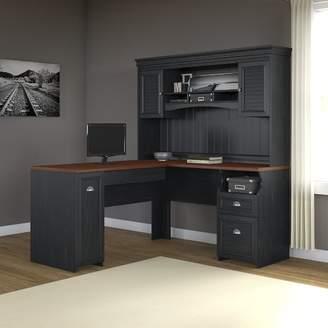 Beachcrest Home Oakridge L-Shaped Executive Desk with Hutch