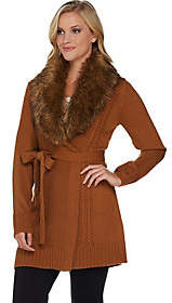 Dennis Basso Mix Stitch Belted Cardigan withFaux Fur Collar