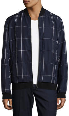 Theory Articulated Checkered Bomber Jacket