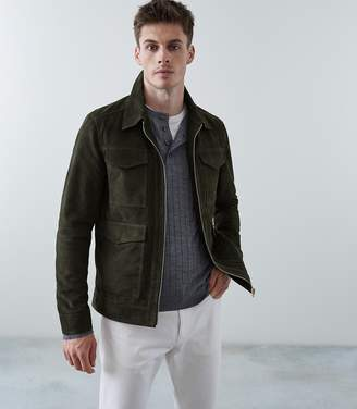 Reiss FIELD SUEDE FOUR POCKET JACKET Emerald