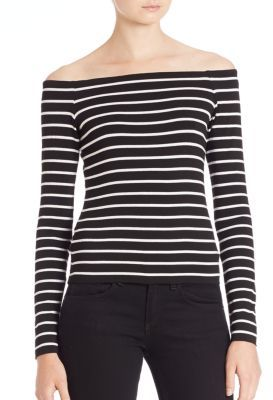Bailey 44 Jacqueline Striped Off-The-Shoulder Top $121 thestylecure.com