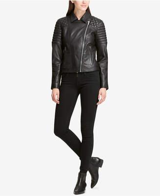 DKNY Quilted-Shoulder Leather Moto Jacket
