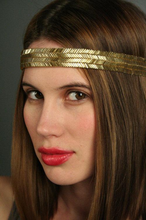 Phoebe Price Large Gold Beaded Headband