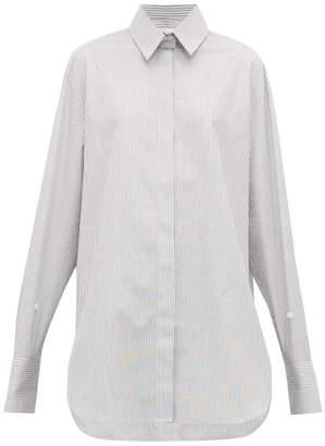 The Row Pedro Step Hem Striped Cotton Oxford Shirt - Womens - Black White