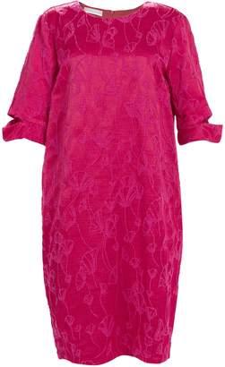 Stefanel Ginkgo Pattern Jacquard Dress