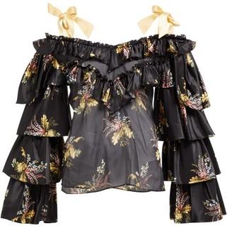 Rodarte Ruffled Floral Print Silk Blend Blouse - Womens - Black Multi