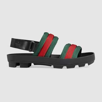 Gucci Leather and Web sandal