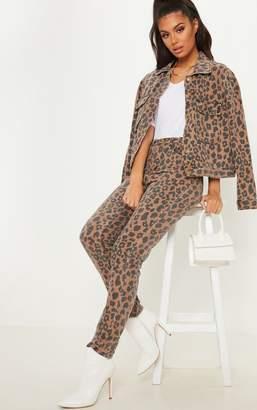 PrettyLittleThing Brown Leopard Print Mom Jean