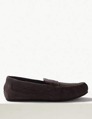 """Marks and Spencer Big & Tall Suede Slippers with Freshfeetâ""""¢"""