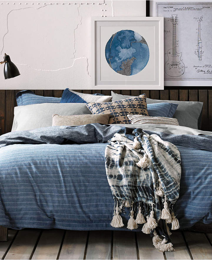 Tommy  Blues Railroad Stripe Cotton 3-Pc. Reversible Full/Queen Duvet Cover Set Bedding