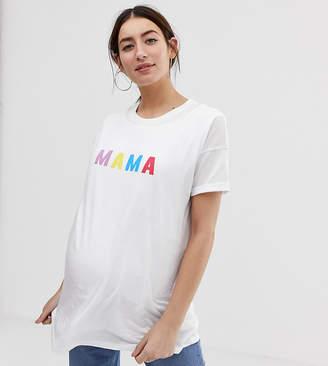 86d8ac8e71860 Asos Nursing DESIGN Maternity nursing double layer t-shirt with mama slogan